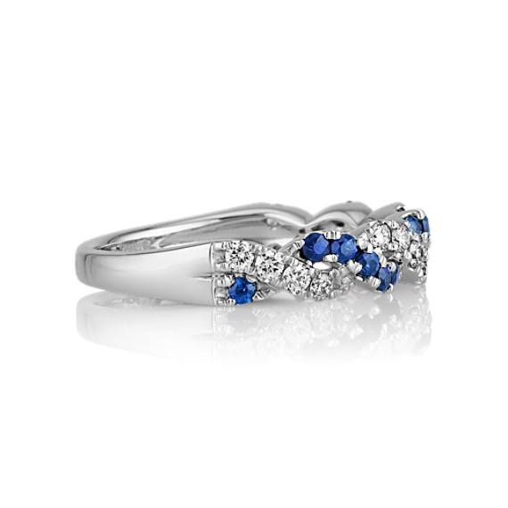 Round Traditional Sapphire and Diamond Braided Ring