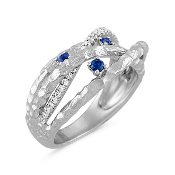 Round Traditional Sapphire and Diamond Crisscross Ring with Hammered Finish