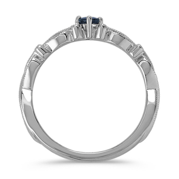 Round Traditional Sapphire Sterling Silver Stackable Ring