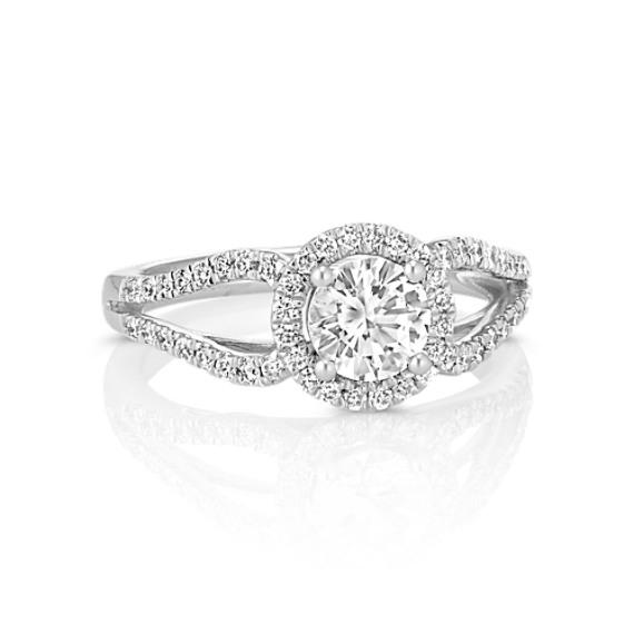 Round White Sapphire and Round Diamond Halo Ring