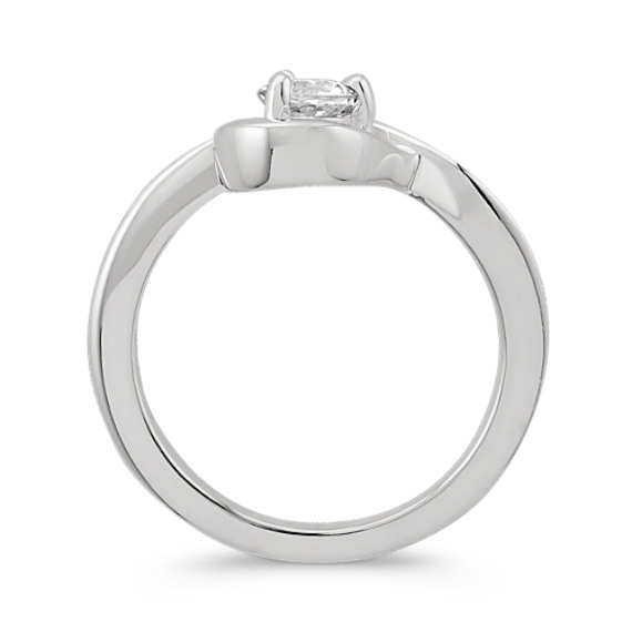 Round White Sapphire Ring in Sterling Silver