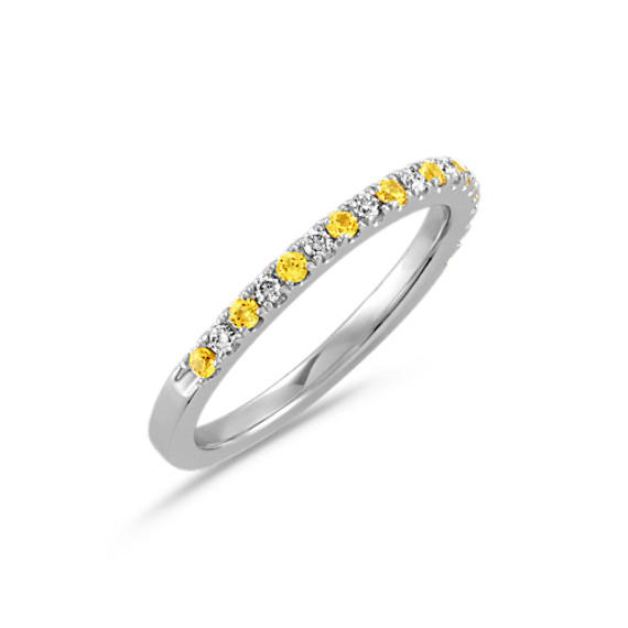 Round Yellow Sapphire and Diamond Wedding Band in 14k White Gold