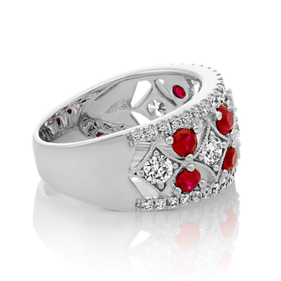 Ruby and Diamond Ring in 14k White Gold