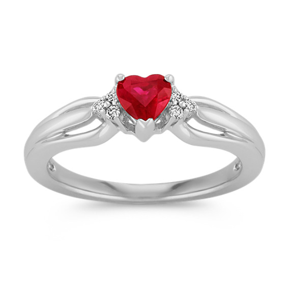 Ruby Heart and Round Diamond Fashion Ring