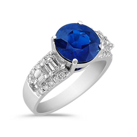 Sapphire, Fancy Shape and Round Diamond Ring