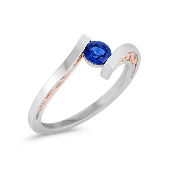 Sapphire Ring in Sterling Silver & 14k Rose Gold with Channel-Setting