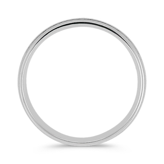 Satin and Engraved 14k White Gold Comfort Fit Ring (6mm)