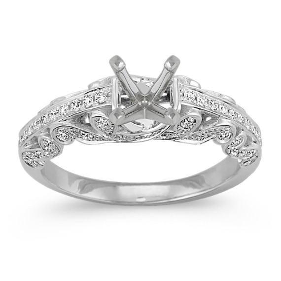 Side Swirl Vintage Diamond Engagement Ring with Pavé Setting