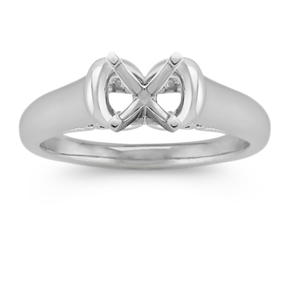 Solitaire 14k White Gold Engagement Ring with Filigree Under Bridge