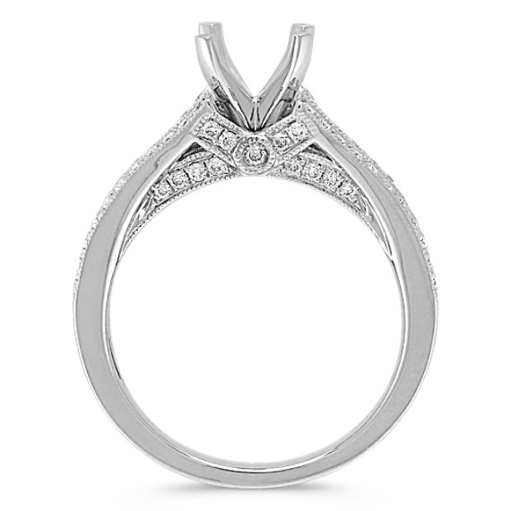 Split Shank Cathedral Diamond Platinum Engagement Ring with Pavé Setting