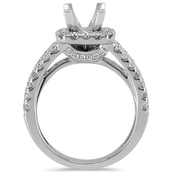 Split Shank Halo Diamond Engagement Ring with Pavé-Setting