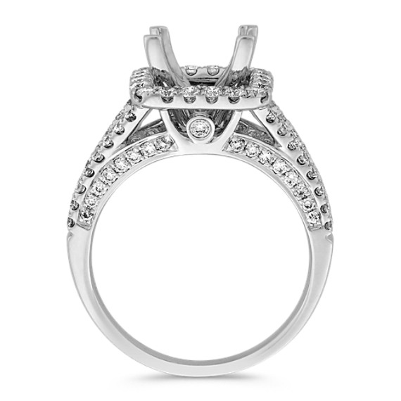Split Shank Halo Diamond Engagement Ring
