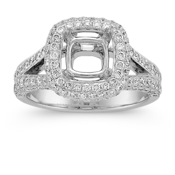 Split Shank Halo Triple Sided Diamond Engagement Ring with Pavé-Setting