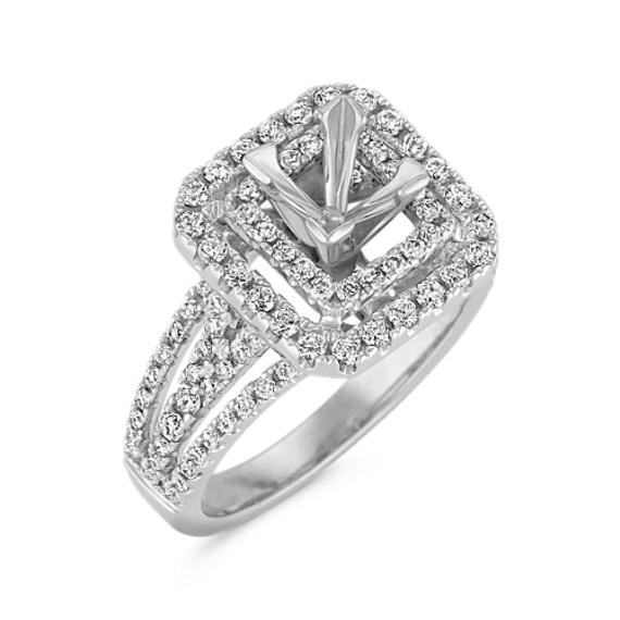 Square Double Halo Diamond Engagement Ring
