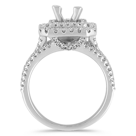 Square Double Halo Diamond Engagement Ring