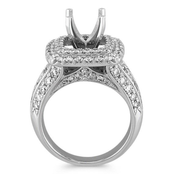 Square Double Halo Engagement Ring with Pavé Set Round Diamonds at Shane Co