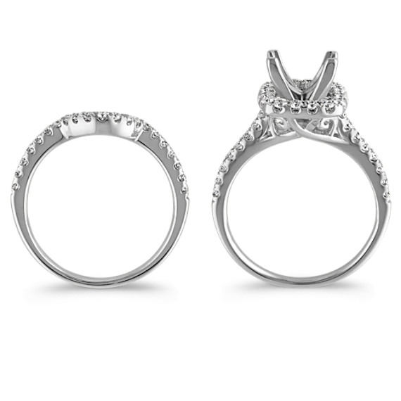 Square Halo Diamond Wedding Set with Pavé-Setting