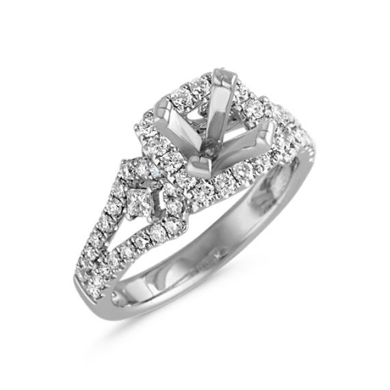 Square Halo Engagement Ring with Pavé-Set Diamonds