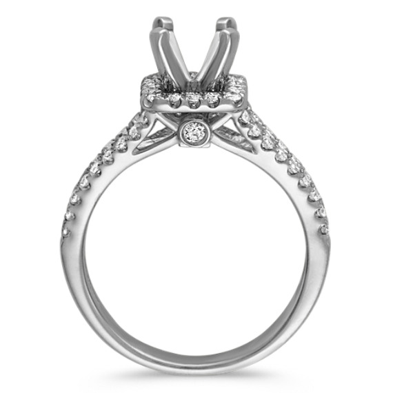 Square Halo Split Shank Diamond Engagement Ring