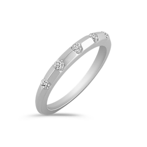 Stackable Five-Stone Diamond Ring in 14k White Gold
