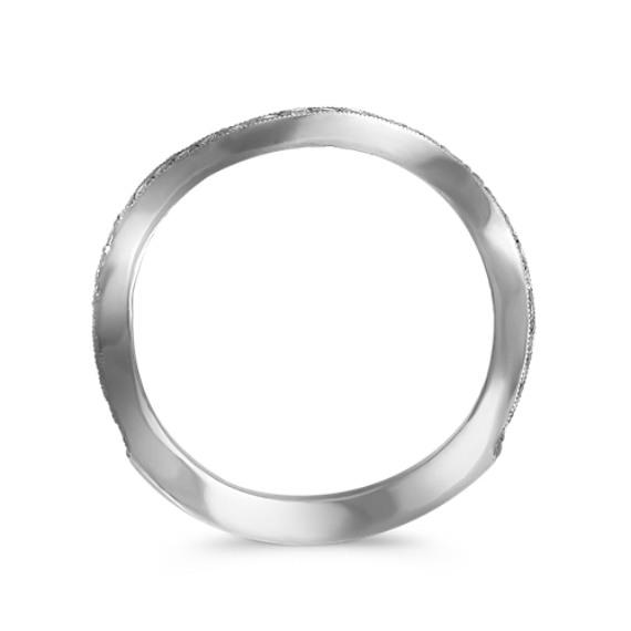 Stackable Wave Pavé-Set White Gold Diamond Ring