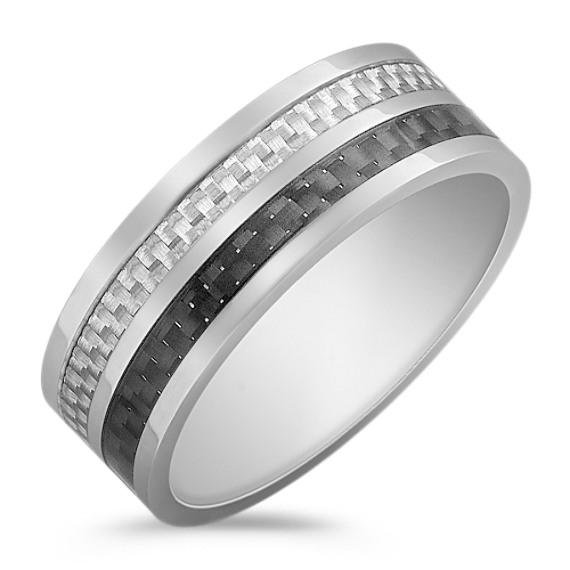 Stainless Steel with Black and White Carbon Fiber Ring