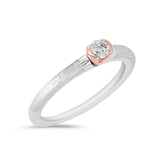 Sterling Silver, 14k Rose Gold and Diamond Ring
