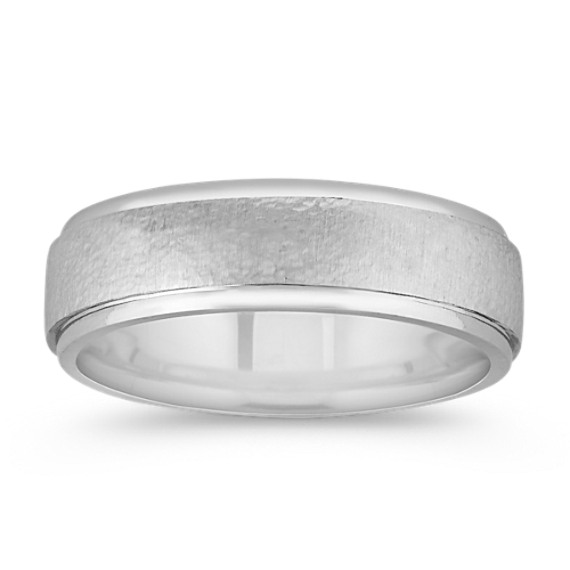 Sterling Silver and 14k White Gold Comfort Fit Ring (7mm)
