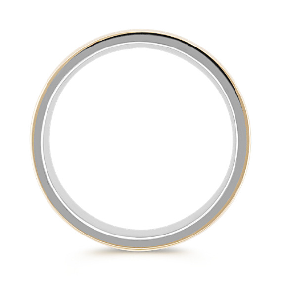 Sterling Silver and 14k Yellow Gold Comfort Fit Ring (7mm)