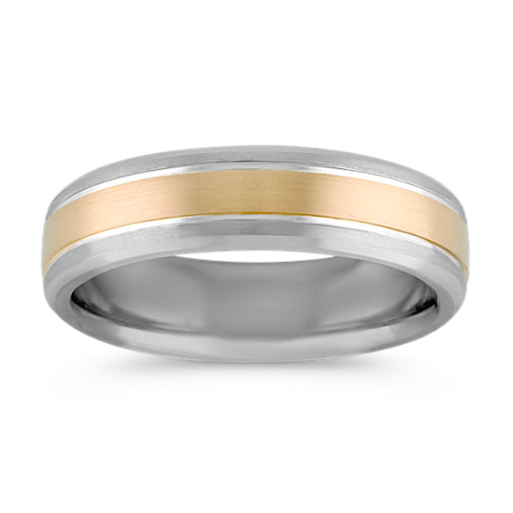 Sterling Silver and 14k Yellow Gold Ring with Satin Finish (6mm)