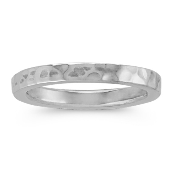 Sterling Silver Stackable Ring with Hammered Finished