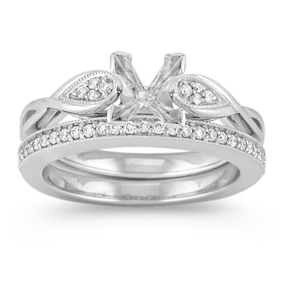 Swirl and Cluster Diamond Wedding Set with Pavé Setting