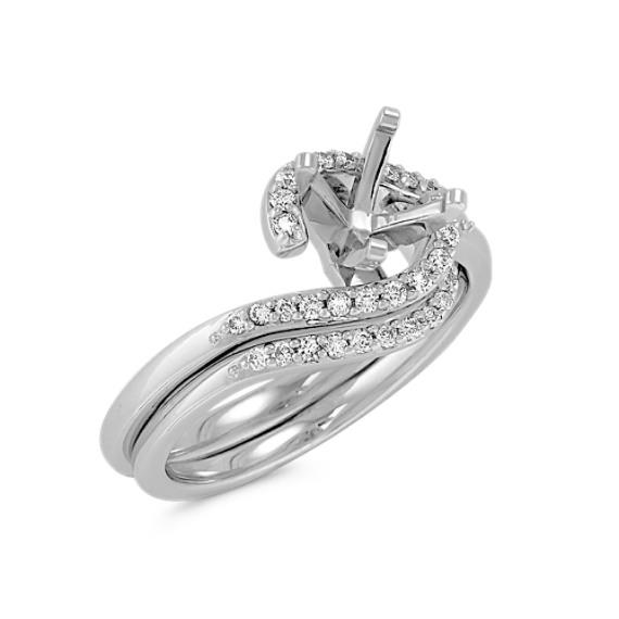 Swirl and Nestled Round Diamond Wedding Set