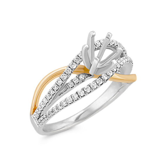 Swirl Diamond Engagement Ring in Two-Tone Gold