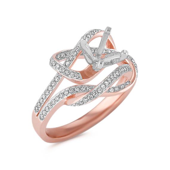 Swirl Diamond Ring in 14k Rose Gold