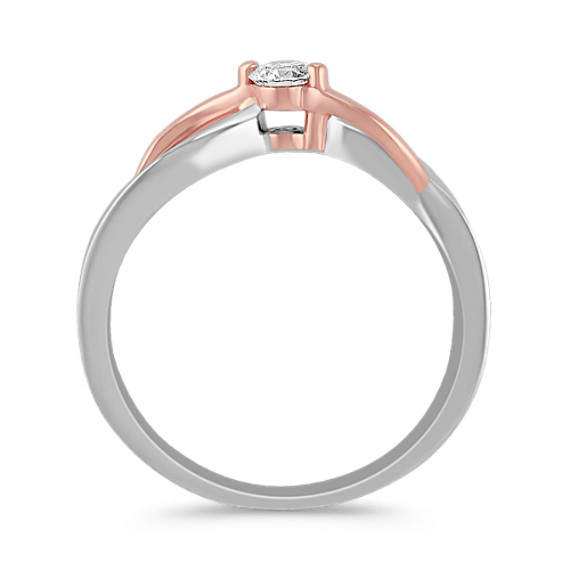 Swirl Diamond Ring in Sterling Silver and Rose Gold