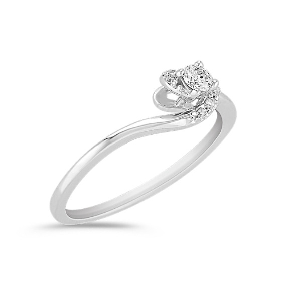 Swirl Diamond Ring in Sterling Silver