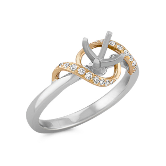 Swirl Diamond Ring in Two-Tone Gold