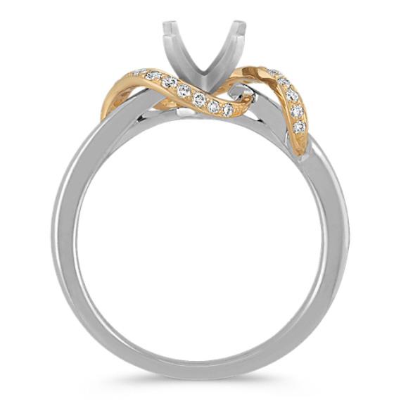 Swirl Diamond Ring in Two-Tone Gold