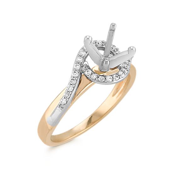 Swirl Diamond Two-Tone Gold Engagement Ring