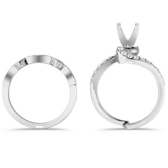 Swirl Diamond Wedding Set for Her