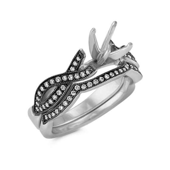 Swirl Diamond Wedding Set with Black Rhodium