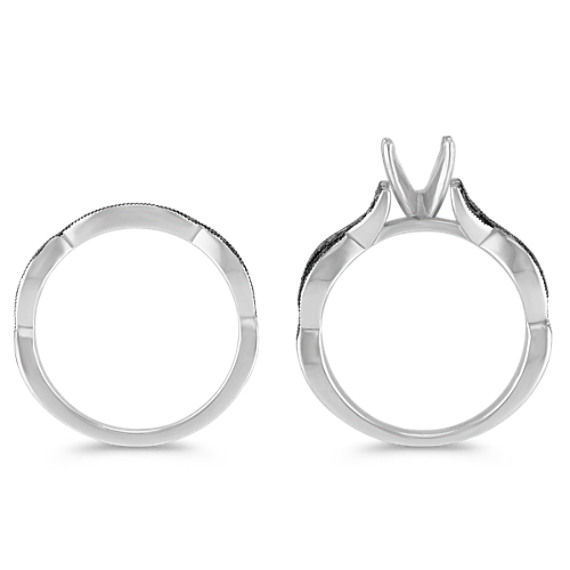 Swirl Diamond Wedding Set with Black Rhodium