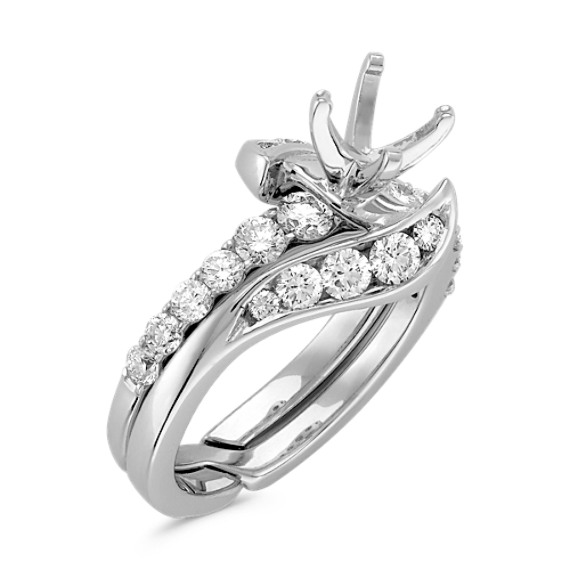 Swirl Diamond Wedding Set with Channel-Setting in 14k White Gold