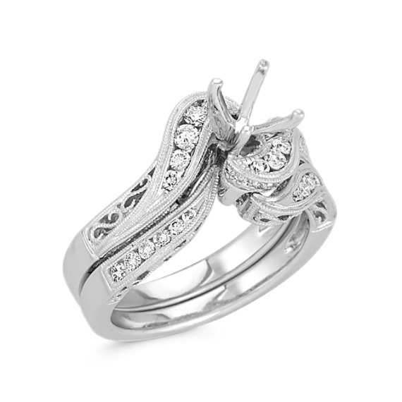 Swirl Diamond Wedding Set with Channel-Setting