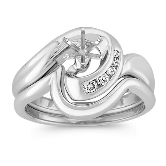 Swirl Diamond Wedding Set with Channel Setting