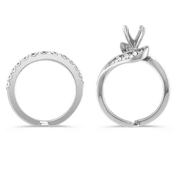 Swirl Diamond Wedding Set with Half Channel Setting