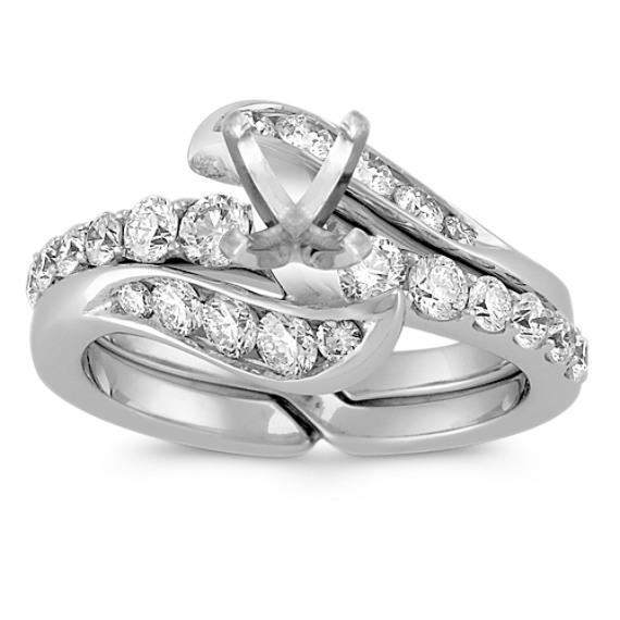 Swirl Diamond Wedding Set with Half Channel Setting