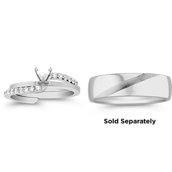 Swirl Diamond Wedding Set with Pavé Setting and Brush Finish