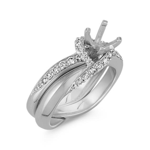 Swirl Diamond Wedding Set with Pavé-Setting in 14k White Gold